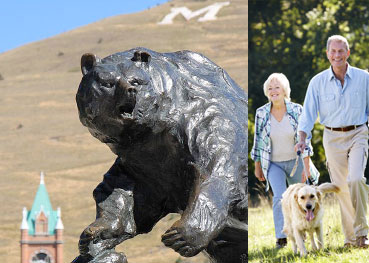 UM Grizzly statue and couple walking